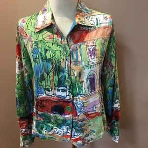 Patchington Abstract Cite View Button Up Blouse